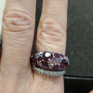 Silver tone purple and clear stone ring